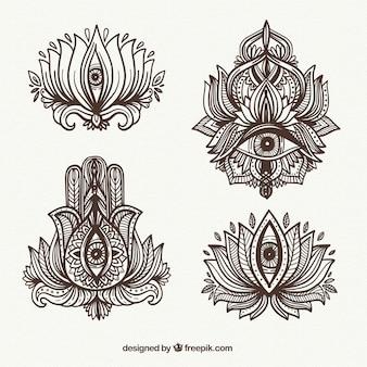 Sammlung von dekorativen elementen