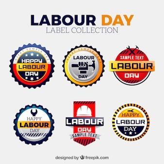 Sammlung von dekorativen etiketten für den arbeitertag