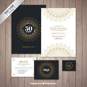 Sammlung von dekorativen goldenen jubiläumskarte