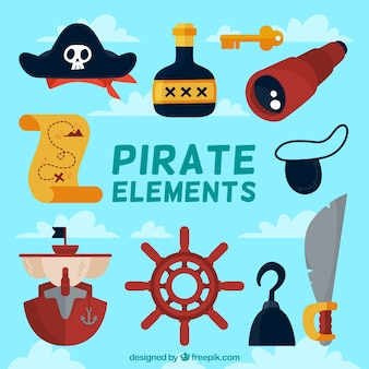 Sammlung von dekorativen piratenobjekten in flachem design