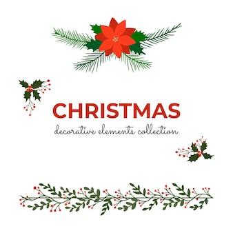 Sammlung von dekorativen weihnachtselementen
