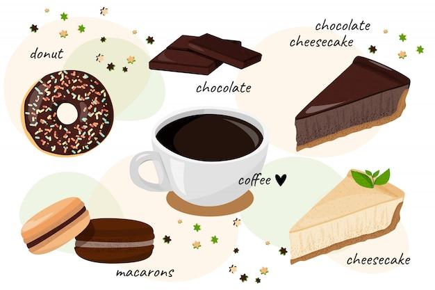 Sammlung von desserts und kaffee.
