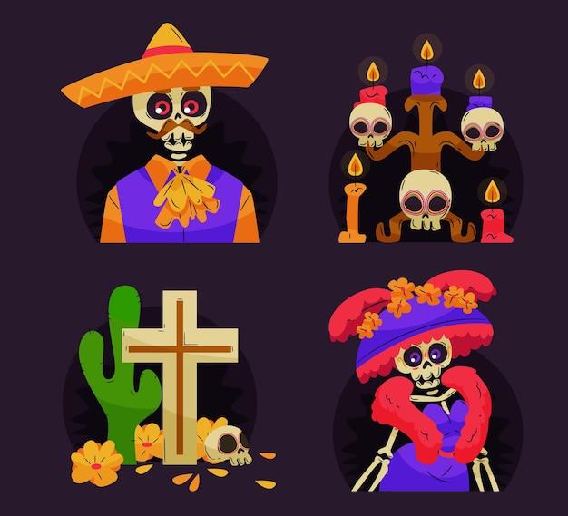 Sammlung von dia de muertos abzeichen in flachem design