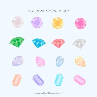 Sammlung von diamanten in flaches design