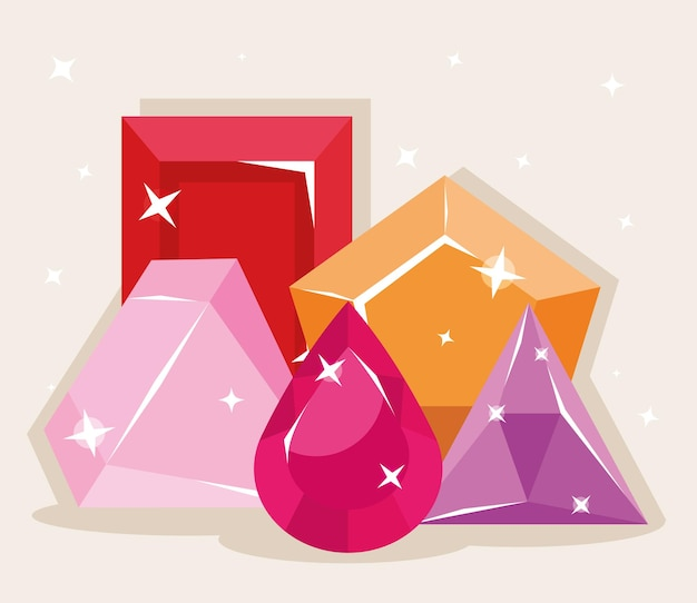 Sammlung von diamanten und edelsteinen