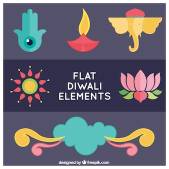 Sammlung von diwali dekorative elemente in flaches design