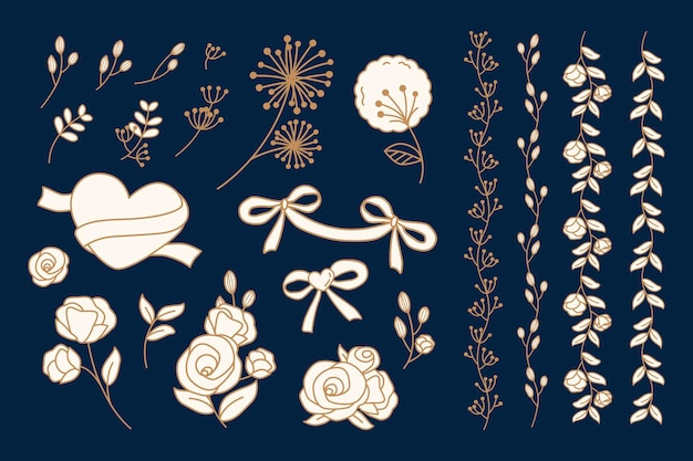 Sammlung von doodles mit herzen und blumen
