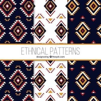 Sammlung von drei ethnischen mustern in flach