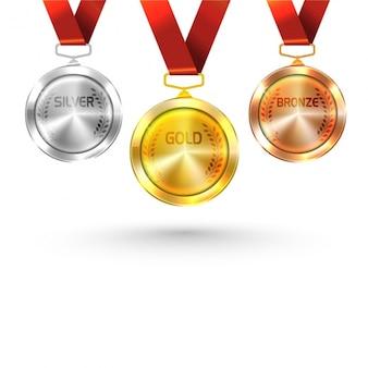 Sammlung von drei glänzenden medaillen