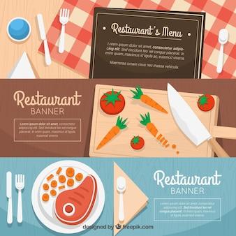 Sammlung von drei restaurant-banner mit flachen elementen