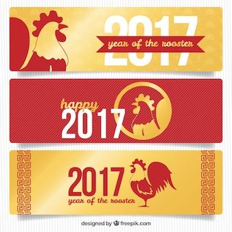 Sammlung von drei roten und goldenen banner für das chinesische neujahr