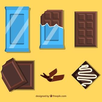 Sammlung von dunklen und milchschokolade bars