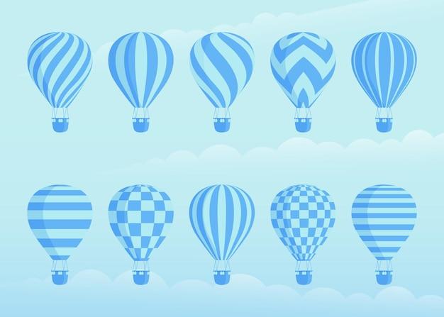 Sammlung von duotonen heißluftballons. zickzacke, wellenlinien, gestreift auf heißluftballon der weinleseart mit korb am wolkenhintergrund