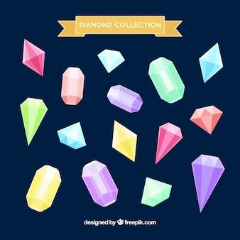 Sammlung von edelsteinen mit verschiedenen farben und design