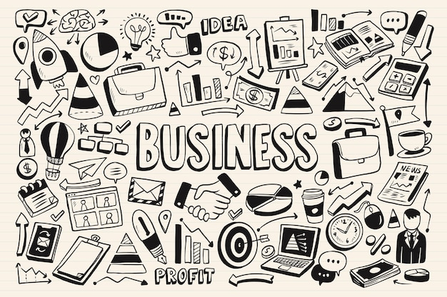 Sammlung von einfarbigen business-doodles