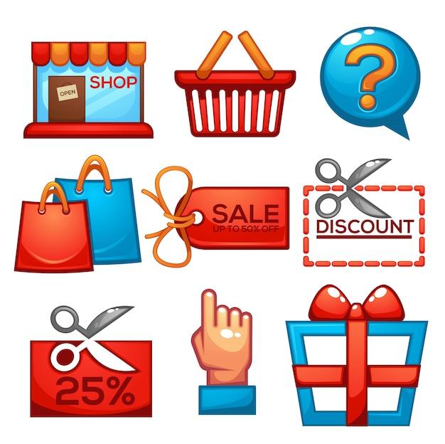 Sammlung von einkaufs- und verkaufssymbolen für ihre mobile app oder ihr spiel im kartonstil