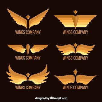Sammlung von eleganten goldenen flügel logos