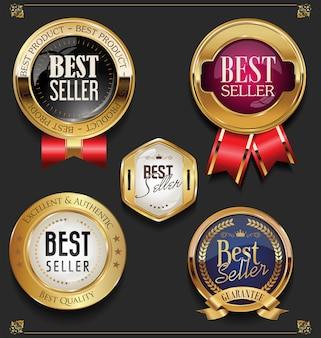 Sammlung von eleganten goldenen premium-bestseller-etiketten