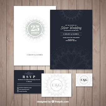 Sammlung von eleganten silbernen hochzeit jubiläum einladung