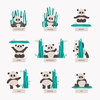 Sammlung von englischen präpositionen mit niedlichem panda
