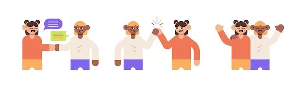 Sammlung von erwachsenen menschen, die gruß, glückliche und umarmte flache illustration ausdrücken