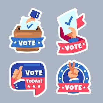 Sammlung von etiketten für die präsidentschaftswahl