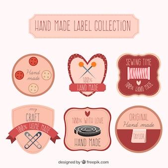 Sammlung von etiketten über kunsthandwerk