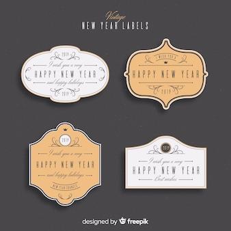 Sammlung von etiketten und abzeichen für das neue jahr 2019