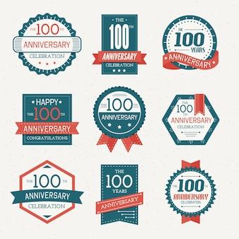 Sammlung von etiketten zum 100-jährigen jubiläum