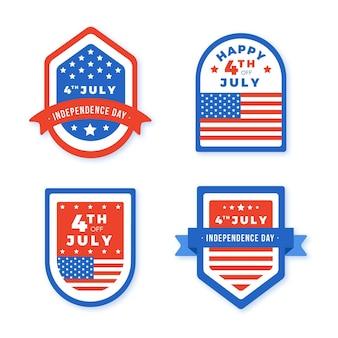 Sammlung von etiketten zum unabhängigkeitstag am 4. juli