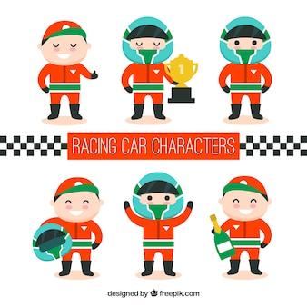 Sammlung von f1 rennenden charakteren