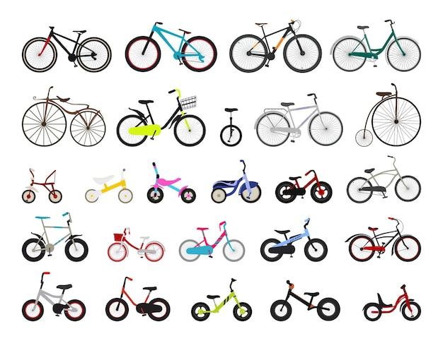 Sammlung von fahrrädern für kinder und erwachsene.
