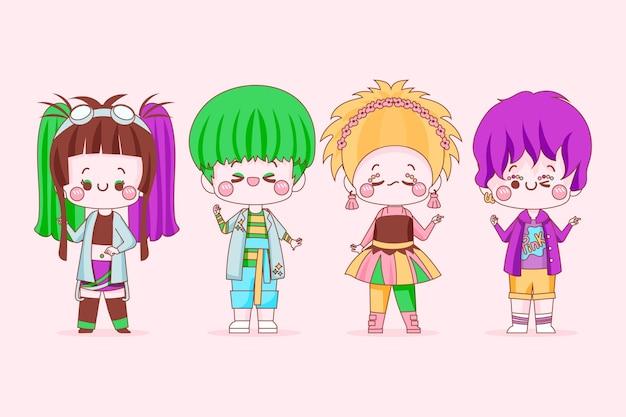 Sammlung von fantastischen menschen im harajuku-stil