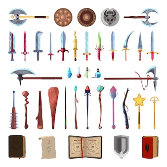 Sammlung von fantasy-inventar zum erstellen von computerspielen