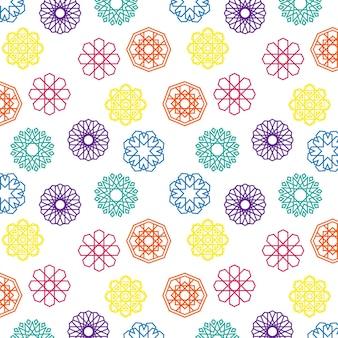 Sammlung von farbenfrohen, lebendigen islamischen geometrischen formen, dekorationsobjekten