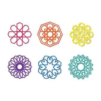 Sammlung von farbenfrohen, lebendigen islamischen geometrischen motivdekorationsobjekten