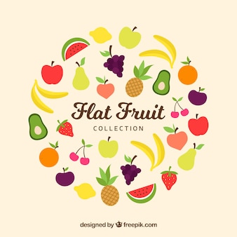 Sammlung von farbigen früchten in flachem design