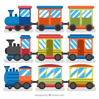 Sammlung von farbigen lokomotiven und wagen