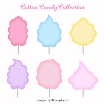 Sammlung von farbigen zuckerwatte