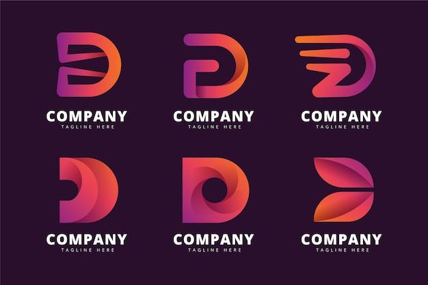 Sammlung von farbverlaufs-d-logo-vorlagen