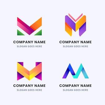 Sammlung von farbverlaufs-m-logo-vorlagen