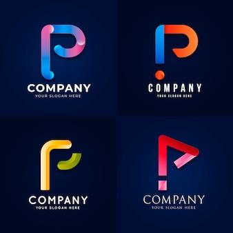 Sammlung von farbverlaufs-p-logo-vorlagen