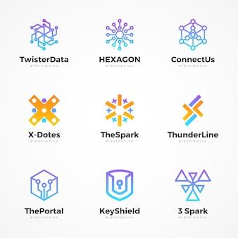Sammlung von farbverlaufselektronik-logos