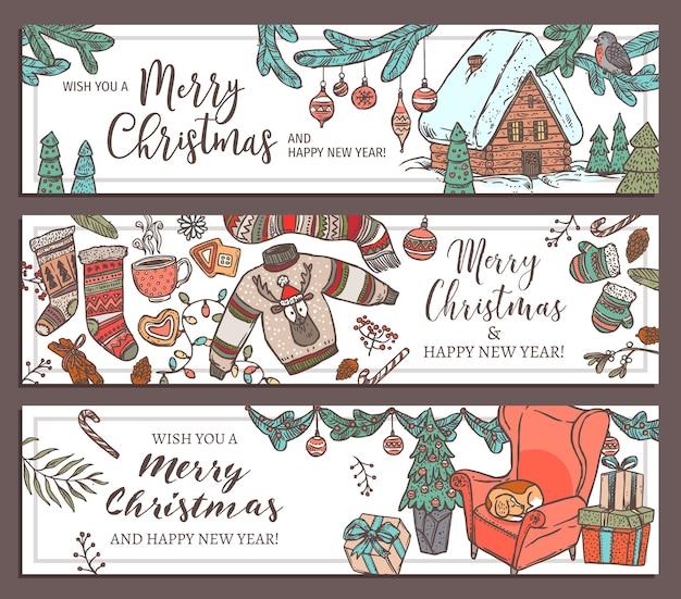 Sammlung von festlichen horizontalen bannern der frohen weihnachten und des guten neuen jahres. grußskizze
