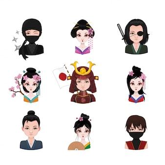Sammlung von feudalen japanischen menschen
