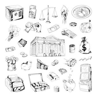 Sammlung von finanzillustrationen im skizzenstil