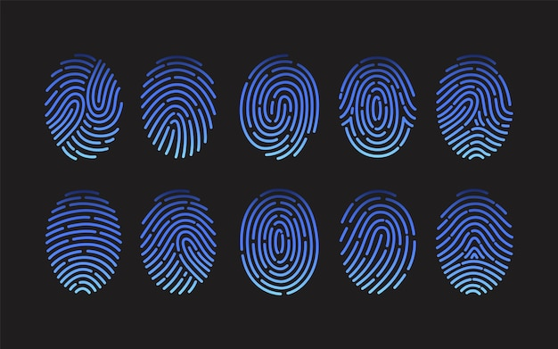 Sammlung von fingerabdrücken verschiedener arten lokalisiert auf schwarzem hintergrund. bündel von spuren von reibungsrippen menschlicher finger.