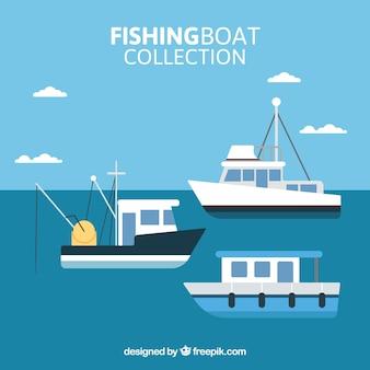 Sammlung von fischerbooten in flachem design