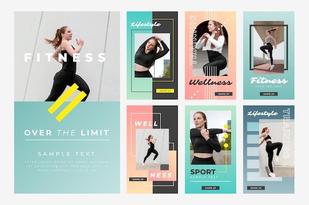 Sammlung von fitness-geschichten mit farbverlauf