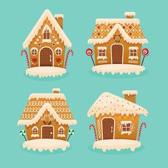 Sammlung von flachem design lebkuchenhaus